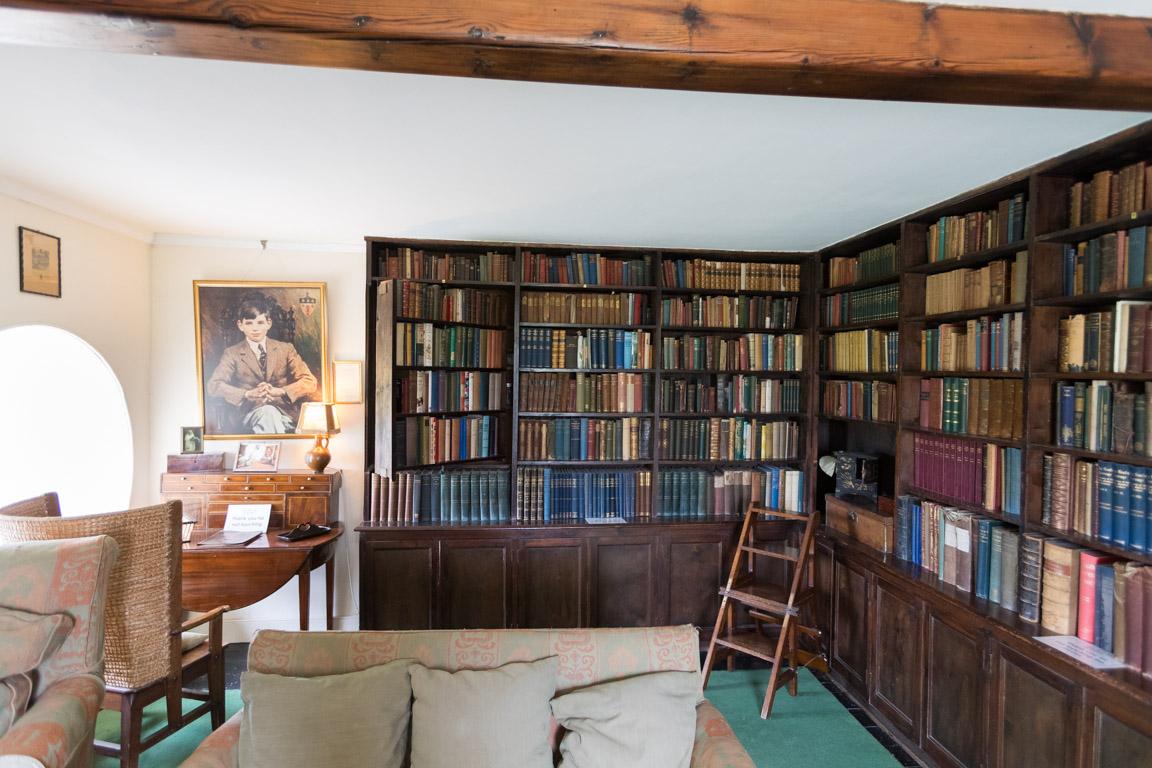 Bibliotek med lönndörr