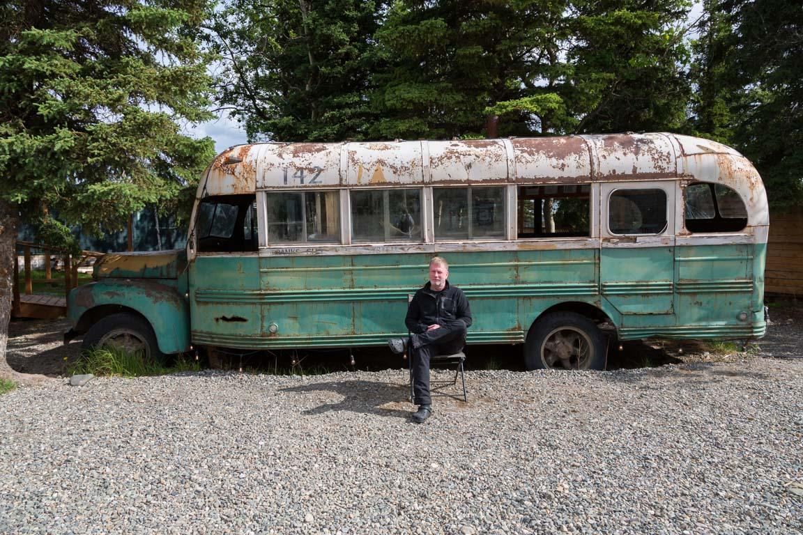 Jag utanför Magic Bus