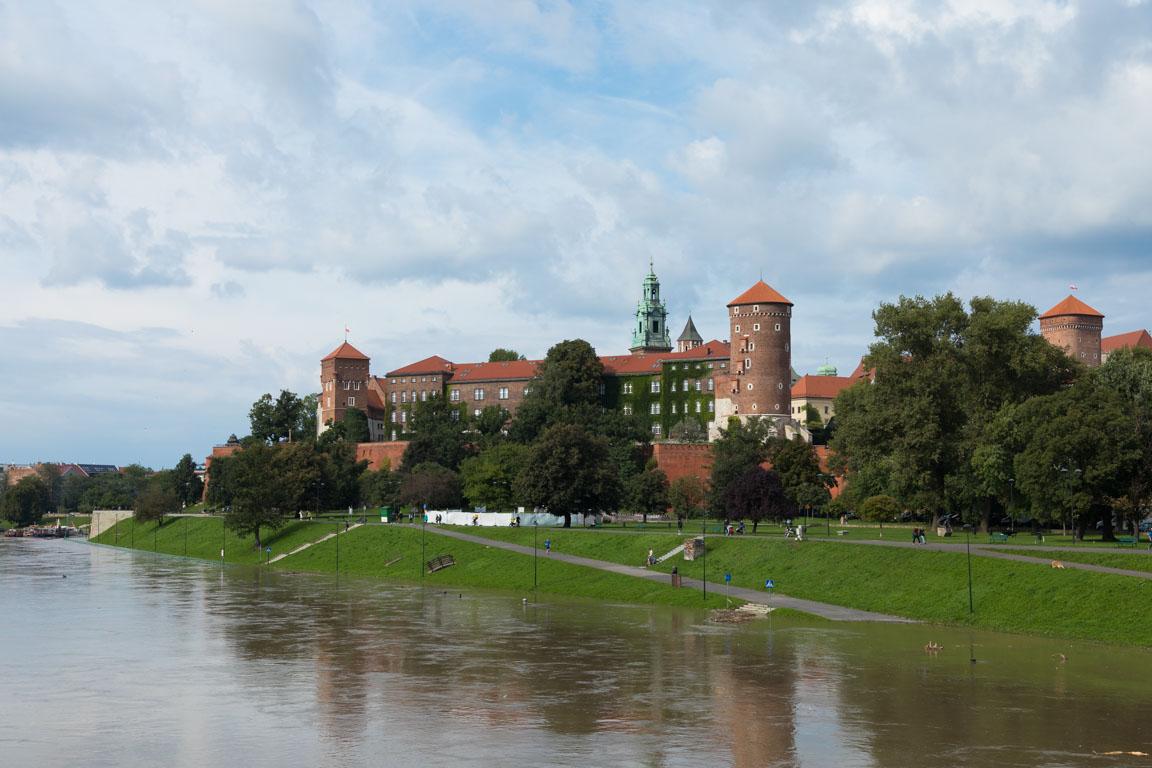 Slottet Wawel från Grunwald-bron